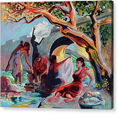 The Washerwomen / Las Lavanderas Acrylic Print by Ben Morales-Correa