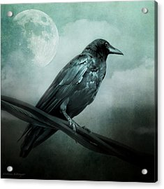 The Watcher Surreal Raven Crow Moon And Clouds Acrylic Print