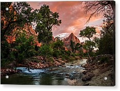The Watchman Sunset Zion National Park Acrylic Print