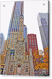 The Water Tower In Autumn Acrylic Print by Mary Machare