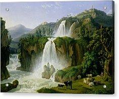 The Waterfall At Tivoli Acrylic Print by Jacob Philippe Hackert