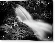 Acrylic Print featuring the photograph The Waterfall In Black And White  by Saija Lehtonen
