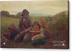 The Watermelon Boys Acrylic Print by Winslow Homer