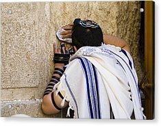 The Western Wall, Jewish Man Wearing Acrylic Print by Richard Nowitz