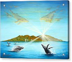 The Whales Of Maui Acrylic Print by Jerome Stumphauzer