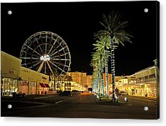 The Wharf At Night  Acrylic Print by Michael Thomas