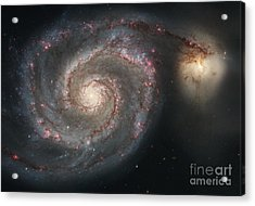 The Whirlpool Galaxy M51 And Companion Acrylic Print by Stocktrek Images