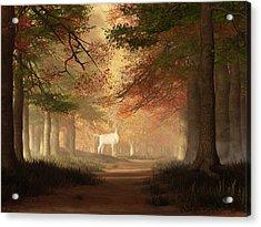 The White Elk Acrylic Print by Daniel Eskridge