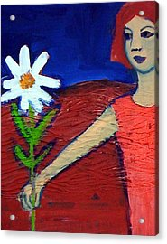 Acrylic Print featuring the painting The White Flower by Winsome Gunning