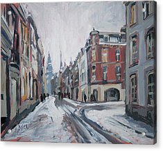 The White Grand Canal Street Maastricht Acrylic Print by Nop Briex