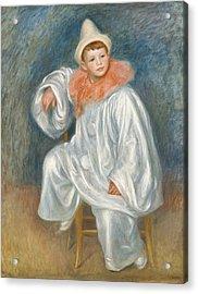 The White Pierrot Acrylic Print by Pierre Auguste Renoir