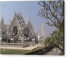 The White Temple Acrylic Print by William Thomas