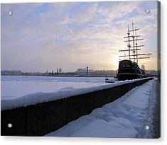 Acrylic Print featuring the pyrography The Winter Ship by Yury Bashkin