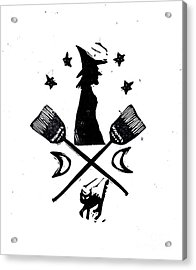 The Witches Crest Halloween Silhouette Acrylic Print