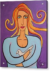 The Woman And The Dove Of Peace Acrylic Print by Claudia Tuli