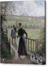 The Woman With The Geese Acrylic Print by Camille Pissarro