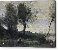 The Wood Gatherer Acrylic Print by Camille Corot