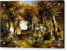 The Woodland Pool Acrylic Print by Thomas Moran