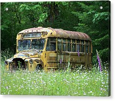 The Yellow Bus Acrylic Print by Gene Ritchhart
