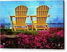 The Yellow Chairs By The Sea Acrylic Print