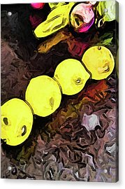 The Yellow Lemons In A Row And The Pink Apple Acrylic Print