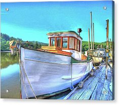 Thee Old Dragger Boat Acrylic Print by Thom Zehrfeld