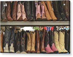 Them Boots, Pink And Brown Acrylic Print by Nadalyn Larsen