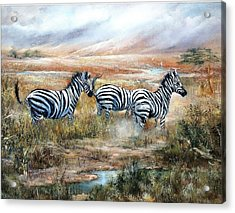 Then There Were Three Acrylic Print by Sally Seago