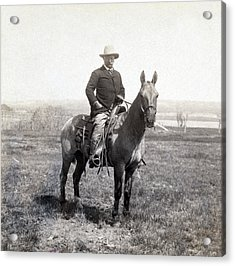 Theodore Roosevelt Horseback - C 1903 Acrylic Print by International  Images