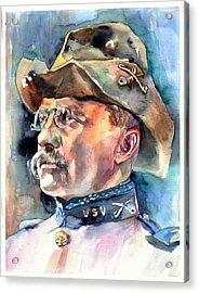 Theodore Roosevelt Portrait Watercolor Acrylic Print