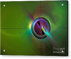Acrylic Print featuring the digital art Theory Of Green - Abstract Art by Sipo Liimatainen