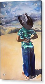 There's A Storm Commin Acrylic Print by Joyce McEwen Crawford