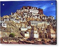 Thiksey Monastery - Paint Acrylic Print by Steve Harrington