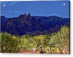 Acrylic Print featuring the photograph Thimble Peak At Night Textured by Dan McManus