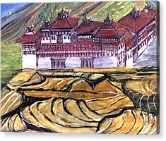 Thimpu Dzong Acrylic Print by Duygu Kivanc