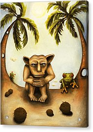 Thinking About Coconuts Acrylic Print by Leah Saulnier The Painting Maniac