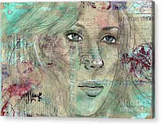 Acrylic Print featuring the drawing Thinking Back by P J Lewis