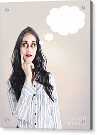 Thinking Dead Business Woman With A Bad Idea Acrylic Print by Jorgo Photography - Wall Art Gallery