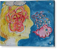Acrylic Print featuring the painting Thinking by Tilly Strauss