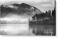 Thirlmere In The Mist Monochrome Acrylic Print
