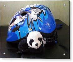 Acrylic Print featuring the photograph This Helmet Is So Heavy Ugh by Ausra Huntington nee Paulauskaite