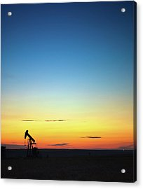 This Is Alberta No.14b - Prairie Oil Sunset Acrylic Print by Paul W Sharpe Aka Wizard of Wonders