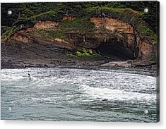 This Is Oregon State No.13 - Surfing At Boiler Bay Acrylic Print by Paul W Sharpe Aka Wizard of Wonders