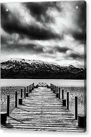 Landscape With Lake And Snowy Mountains In The Argentine Patagonia - Black And White Acrylic Print