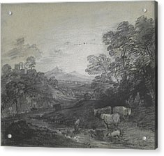 Thomas Gainsborough - Wooded Landscape With Herdsmen And Cattle Acrylic Print by Thomas Gainsborough