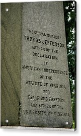 Thomas Jefferson Tombstone Close Up Acrylic Print by LeeAnn McLaneGoetz McLaneGoetzStudioLLCcom