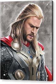 Thor Drawing Acrylic Print by Jasmina Susak