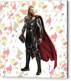 Acrylic Print featuring the mixed media Thor Splash Super Hero Series by Movie Poster Prints