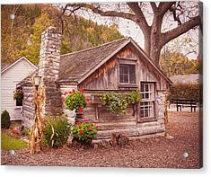 Acrylic Print featuring the photograph Thorp Cabin Door County Wisconsin by Heidi Hermes