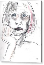 Acrylic Print featuring the drawing Thoughtful - A Selfie by Carolyn Weltman